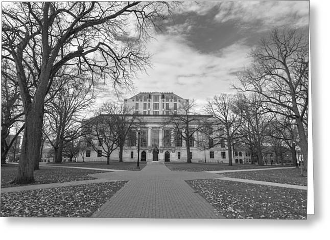 The Ohio State University Greeting Cards - Library Ohio State University Black and White  Greeting Card by John McGraw