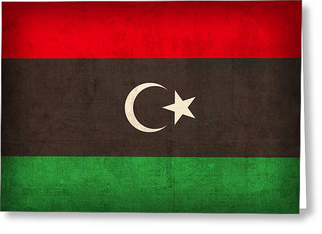 Libya Flag Vintage Distressed Finish Greeting Card by Design Turnpike