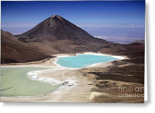 James Brunker Greeting Cards - Licancabur volcano and Laguna Verde Greeting Card by James Brunker