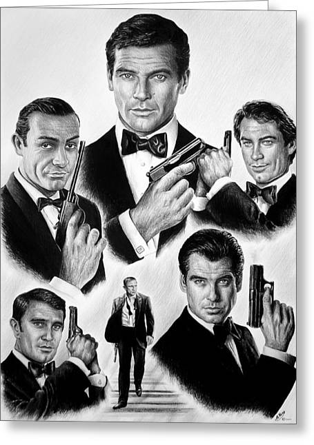 Secret Agent Greeting Cards - Licence to kill  bw Greeting Card by Andrew Read