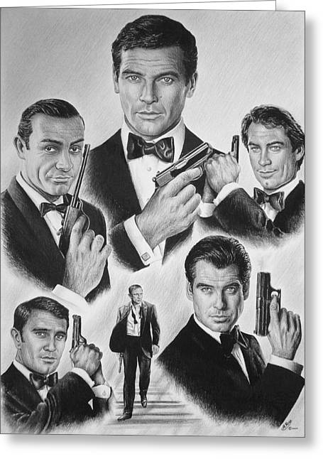 Secret Agent Greeting Cards - Licenced to kill  bw Greeting Card by Andrew Read