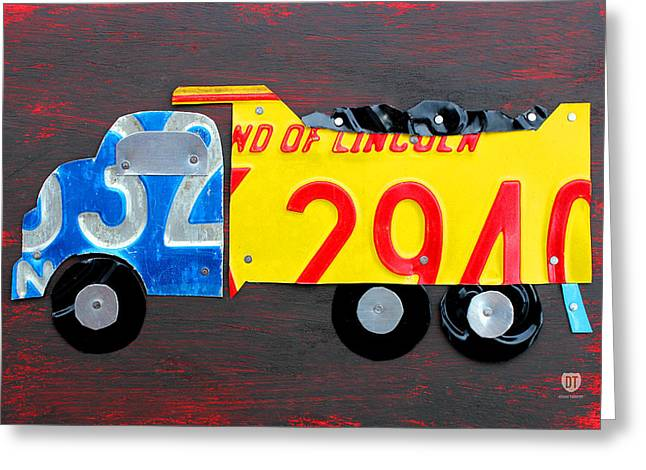 License Plate Art Dump Truck Greeting Card by Design Turnpike