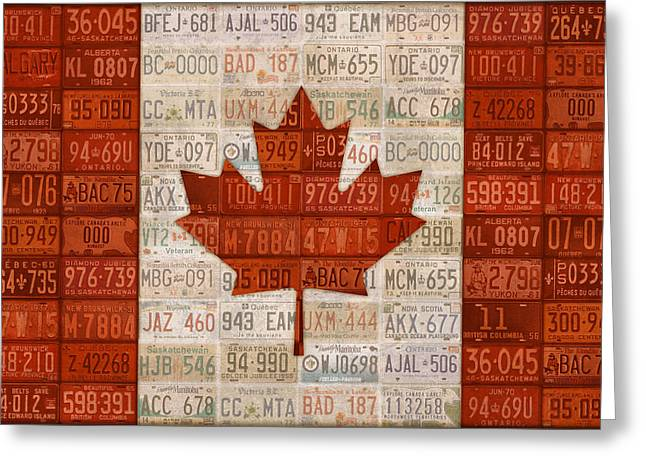 Metal Art Greeting Cards - License Plate Art Flag of Canada Greeting Card by Design Turnpike