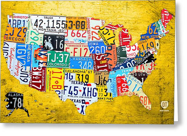 Road Trip Greeting Cards - License Plate Art Map of the United States on Yellow Board Greeting Card by Design Turnpike