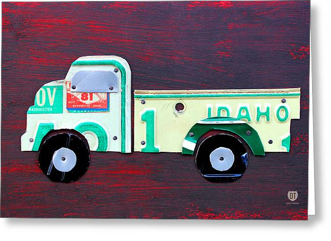License Plate Art Pickup Truck Greeting Card by Design Turnpike