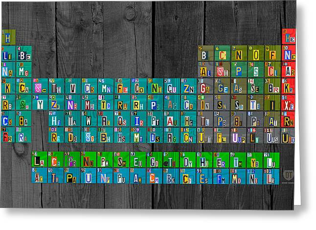 High School Greeting Cards - License Plate Art Recycled Periodic Table of the Elements by Design Turnpike Greeting Card by Design Turnpike