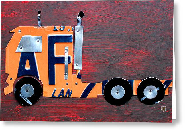 Fun Map Greeting Cards - License Plate Art Semi Truck Greeting Card by Design Turnpike