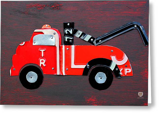 Fun Map Greeting Cards - License Plate Art Tow Truck Greeting Card by Design Turnpike