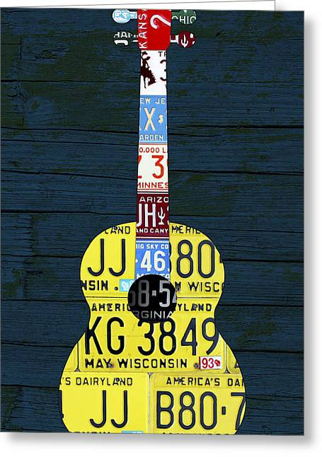Metal Art Greeting Cards - License Plate Guitar Edition 2 Vintage Recycled Metal Art On Wood Greeting Card by Design Turnpike