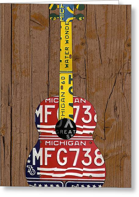 Metal Art Greeting Cards - License Plate Guitar Michigan Edition 3 Vintage Recycled Metal Art On Wood Greeting Card by Design Turnpike