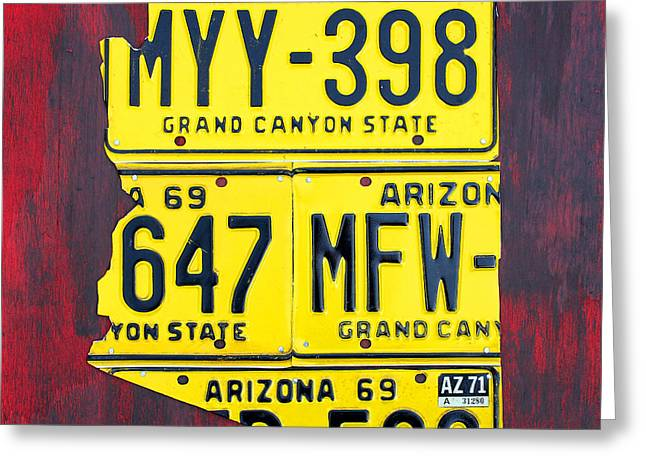 Grand Canyon State Greeting Cards - License Plate Map of Arizona by Design Turnpike Greeting Card by Design Turnpike