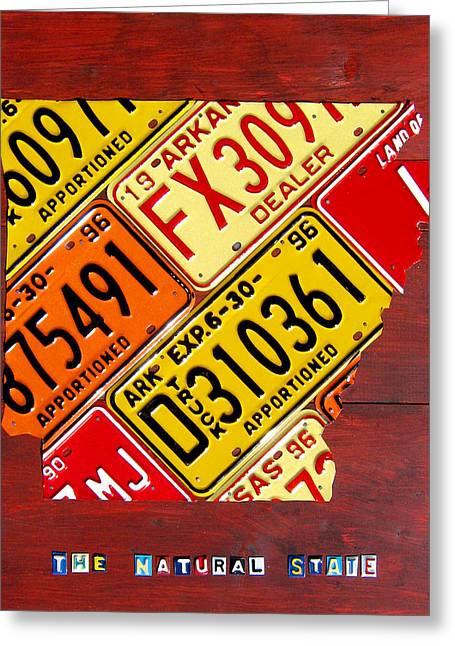 Arkansas Greeting Cards - License Plate Map of Arkansas by Design Turnpike Greeting Card by Design Turnpike