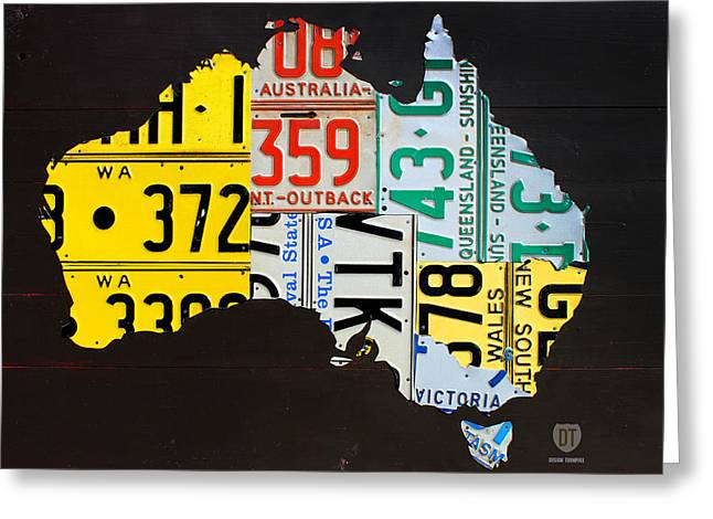 Australia Mixed Media Greeting Cards - License Plate Map of Australia Greeting Card by Design Turnpike