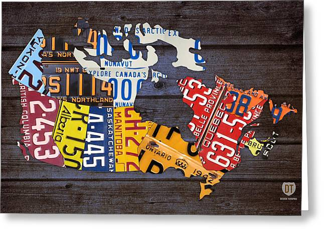 British Columbia Greeting Cards - License Plate Map of Canada Greeting Card by Design Turnpike