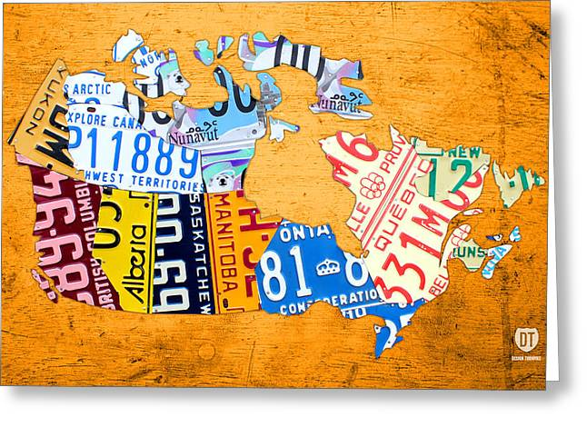 License Plate Map Of Canada On Bold Orange Greeting Card by Design Turnpike