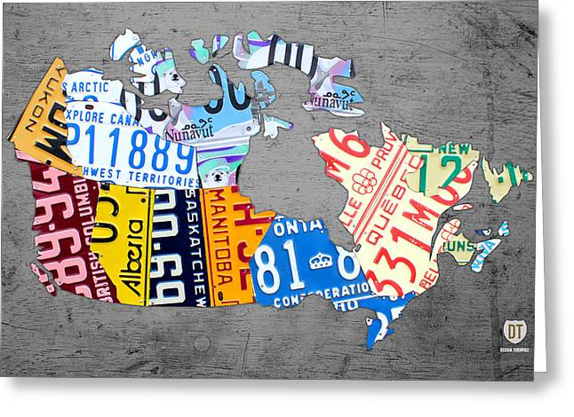 Canada Mixed Media Greeting Cards - License Plate Map of Canada on Gray Greeting Card by Design Turnpike