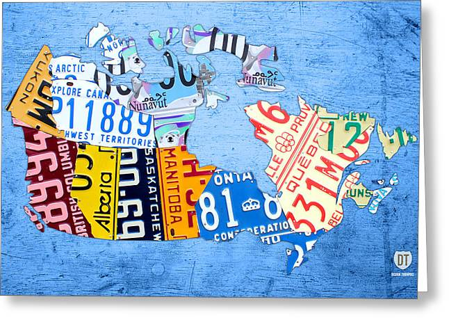 License Plate Map Of Canada On Sky Blue Greeting Card by Design Turnpike
