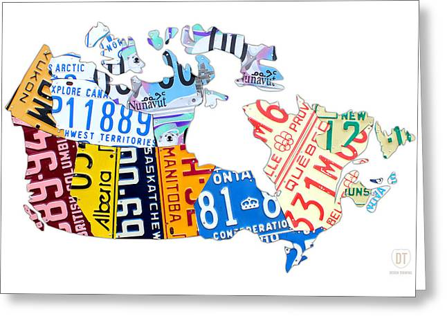 Canada Mixed Media Greeting Cards - License Plate Map of Canada on White Greeting Card by Design Turnpike