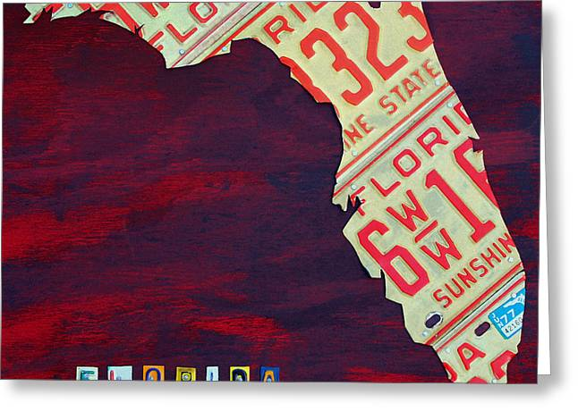 Miami Mixed Media Greeting Cards - License Plate Map of Florida by Design Turnpike Greeting Card by Design Turnpike