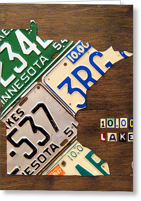 Road Trip Greeting Cards - License Plate Map of Minnesota by Design Turnpike Greeting Card by Design Turnpike