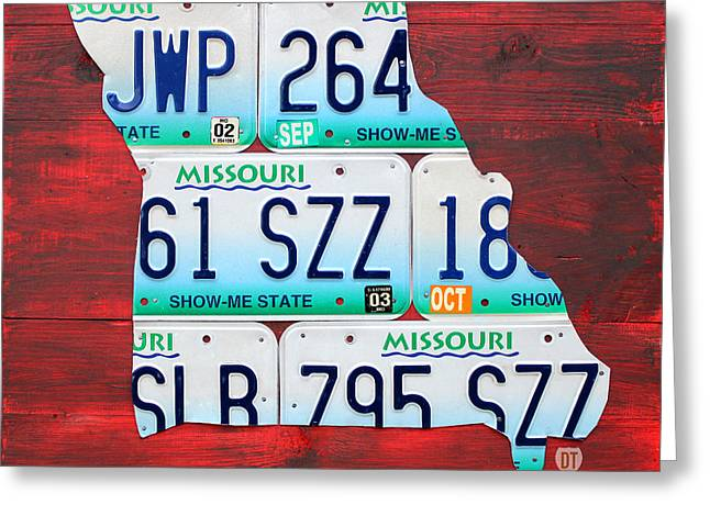 Kansas City Greeting Cards - License Plate Map of Missouri - Show Me State - by Design Turnpike Greeting Card by Design Turnpike