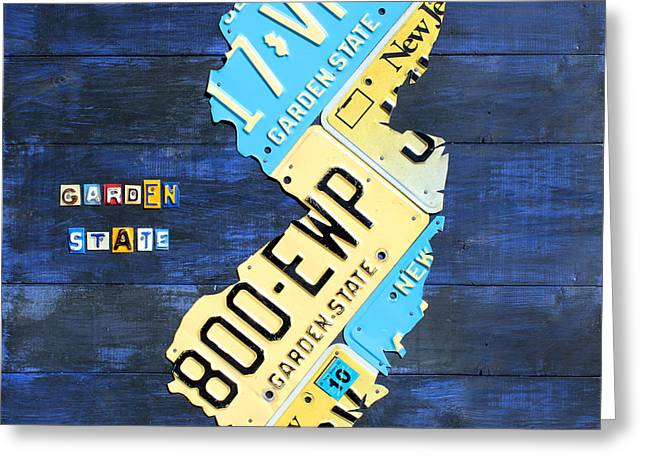New Jersey Greeting Cards - License Plate Map of New Jersey v2 by Design Turnpike Greeting Card by Design Turnpike