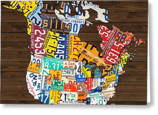 Canada Mixed Media Greeting Cards - License Plate Map of North America - Canada and United States Greeting Card by Design Turnpike