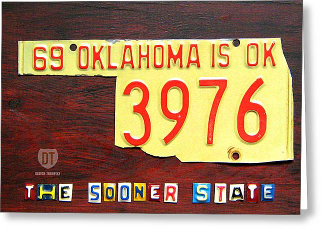 Road Trip Greeting Cards - License Plate Map of Oklahoma by Design Turnpike Greeting Card by Design Turnpike