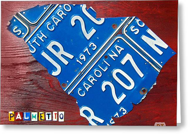 Columbia Mixed Media Greeting Cards - License Plate Map of South Carolina by Design Turnpike Greeting Card by Design Turnpike