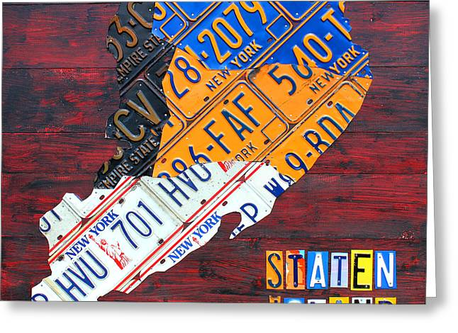 Staten Island Greeting Cards - License Plate Map of Staten Island New York NYC Greeting Card by Design Turnpike