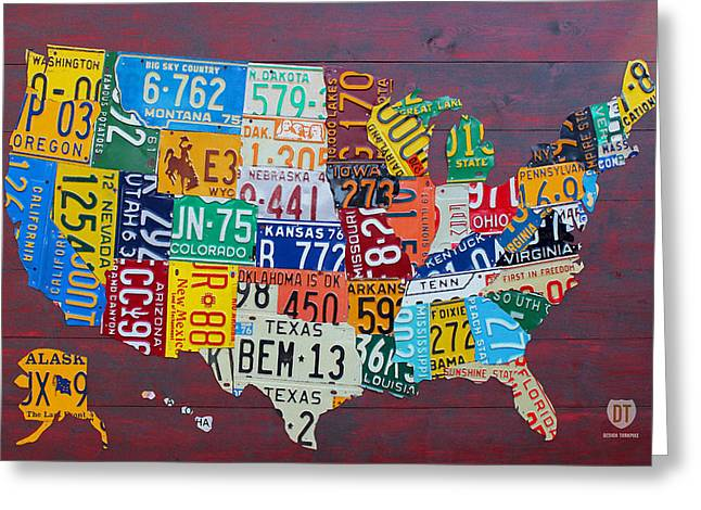 Dakotas Greeting Cards - License Plate Map of The United States Greeting Card by Design Turnpike