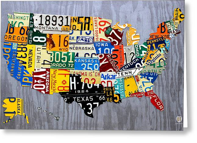 Recycle Greeting Cards - License Plate Map of The United States - Muscle Car Era - On Silver Greeting Card by Design Turnpike