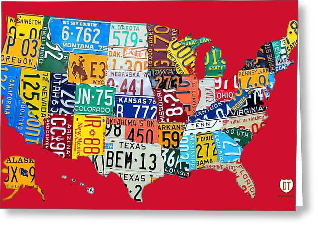 Road Travel Greeting Cards - License Plate Map of The United States on Bright Red Greeting Card by Design Turnpike