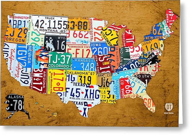 License Plate Map Of The United States On Burnt Orange Slab Greeting Card by Design Turnpike