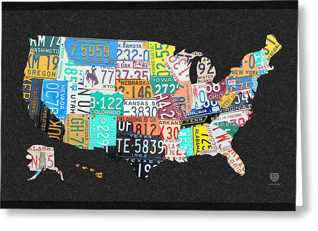 Montana Map Greeting Cards - License Plate Map of the United States on Gray Felt with Black Box Frame Edition 14 Greeting Card by Design Turnpike