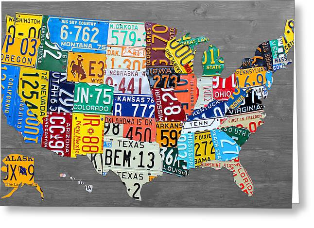 Road Trip Greeting Cards - License Plate Map of The United States on Gray Wood Boards Greeting Card by Design Turnpike