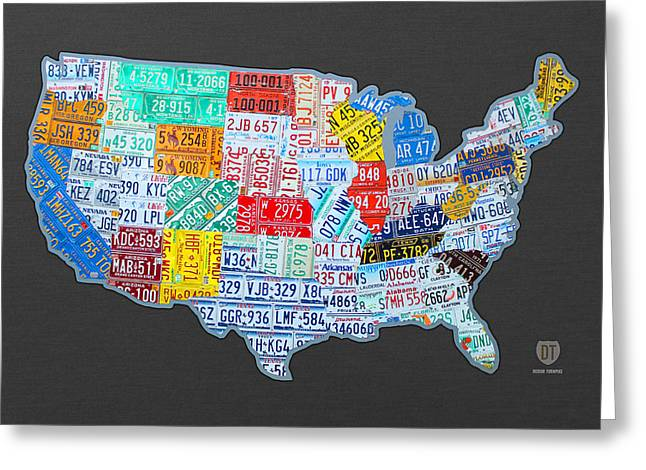 Highway Greeting Cards - License Plate Map of the USA on Gray Greeting Card by Design Turnpike