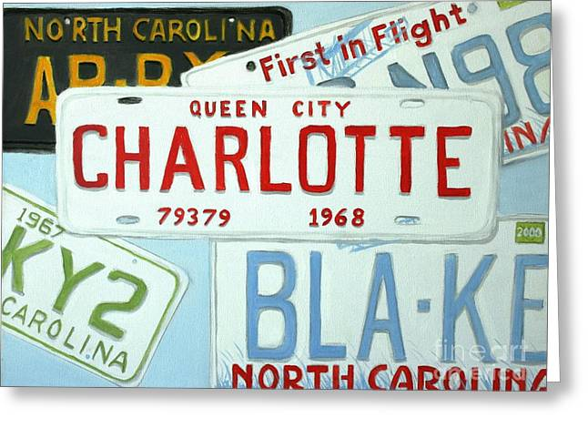 Charlotte Paintings Greeting Cards - License Plates Greeting Card by Stacy C Bottoms