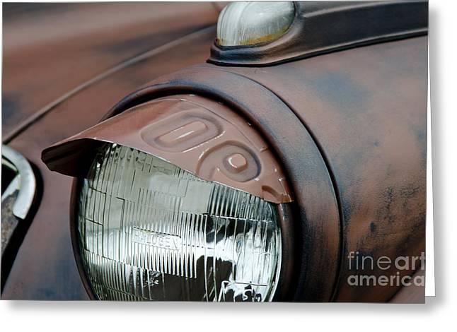 License Tag Eyebrow Headlight Cover  Greeting Card by Wilma  Birdwell