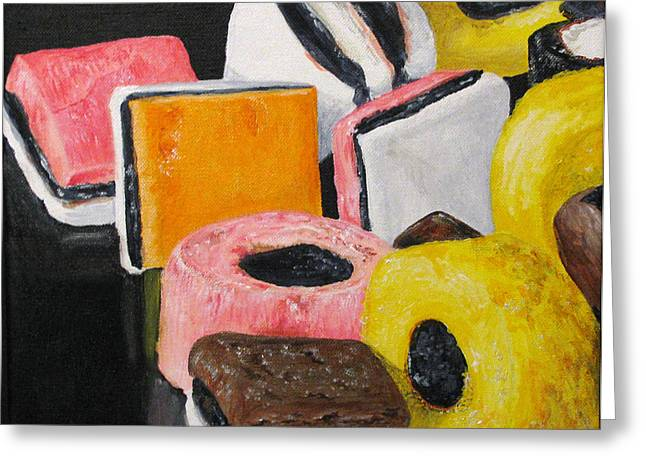 Licorice Paintings Greeting Cards - Licorice Candy Greeting Card by Nancie Johnson