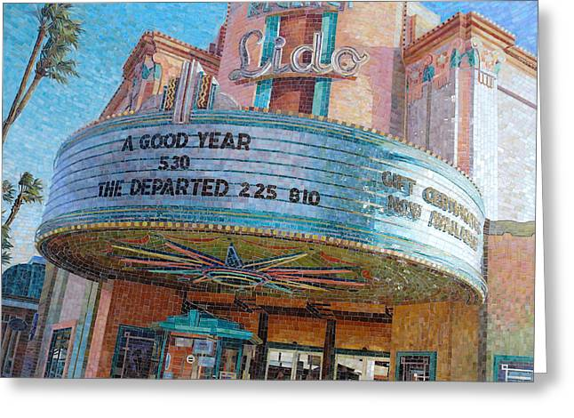 Pink Glass Greeting Cards - Lido Theater Greeting Card by Mia Tavonatti