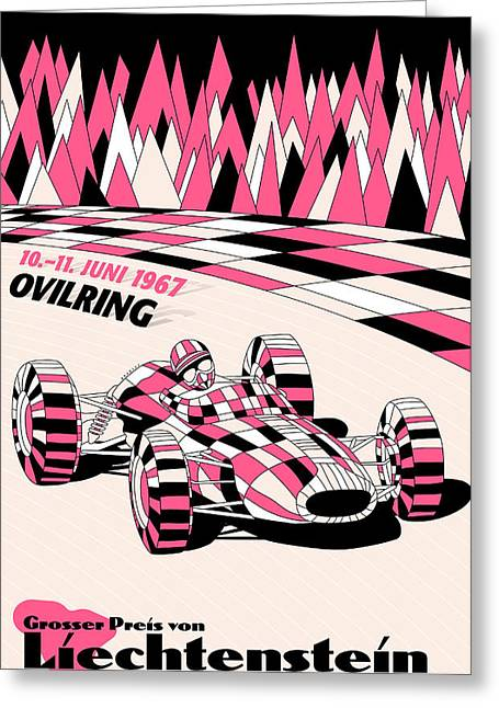 Icon Reproductions Greeting Cards - Liechtenstein 1967 Grand Prix Greeting Card by Nomad Art And  Design