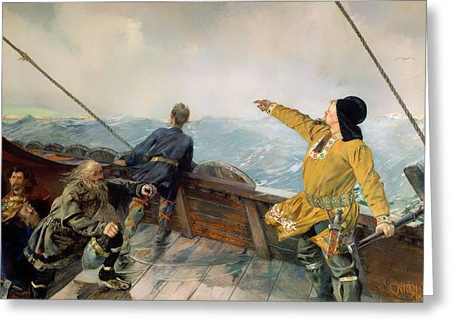 Vikings Paintings Greeting Cards - Lief Eirikson Discovering America Greeting Card by Christian Krohg