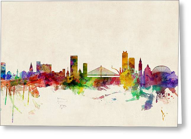 Cityscape Digital Art Greeting Cards - Liege Belgium Skyline Greeting Card by Michael Tompsett