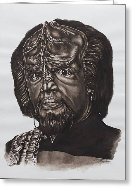 Tng Greeting Cards - lieutenant commander Worf Star Trek TNG Greeting Card by Giulia Riva