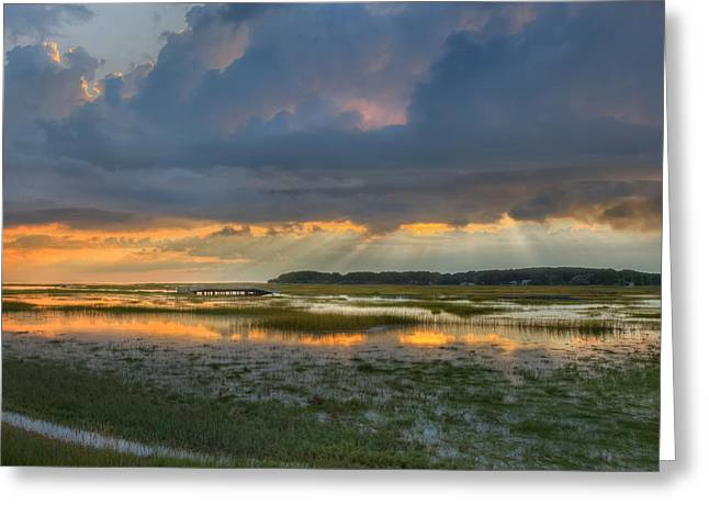 Cape Cod National Seashore Greeting Cards - Lieutenant Island Sunset Square Greeting Card by Bill  Wakeley