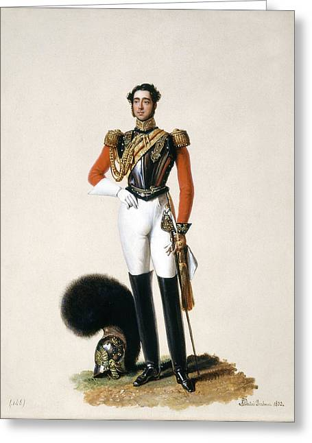 Full-length Portrait Paintings Greeting Cards - Lieutenant Thomas Myddleton Biddulph Greeting Card by Alexandre-Jean Dubois Drahonet