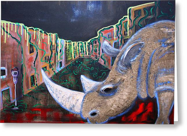 Rhinoceros Mixed Media Greeting Cards - Life After People Greeting Card by Laura Barbosa