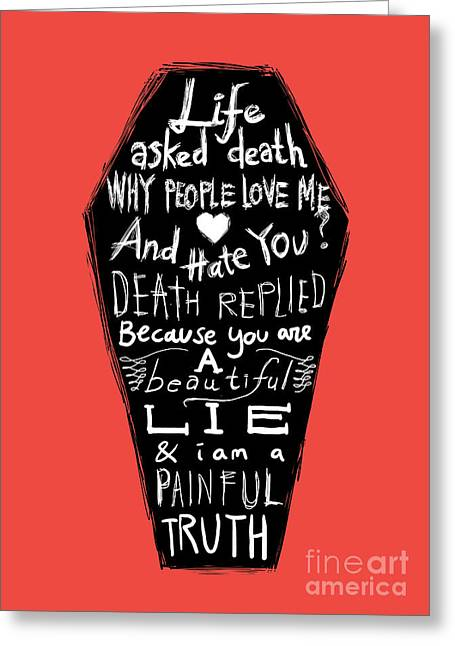 Truth Greeting Cards - Life and Death Greeting Card by Budi Kwan