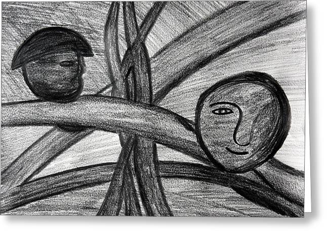 Depression Drawings Greeting Cards - Life and Swings Greeting Card by Vadim Levin